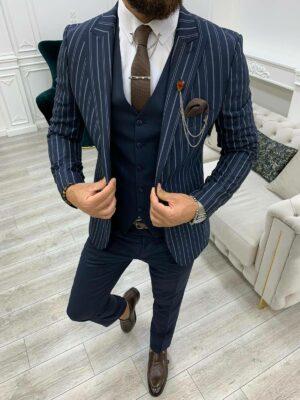 Navy Blue Slim Fit Peak Lapel Striped Suit