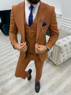 Tile Slim Fit Peak Lapel Striped Suit