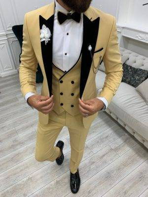Yellow Slim Fit Velvet Peak Lapel Tuxedo