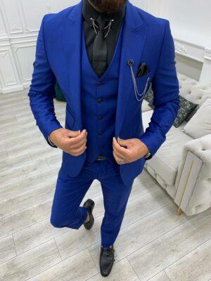 Blue Slim Fit Peak Lapel Suit