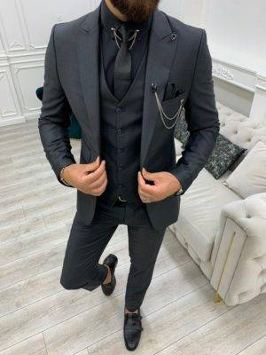 Dark Gray Slim Fit Peak Lapel Suit