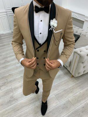 Gold Slim Fit Shawl Lapel Tuxedo
