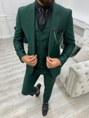 Green Slim Fit Peak Lapel Suit
