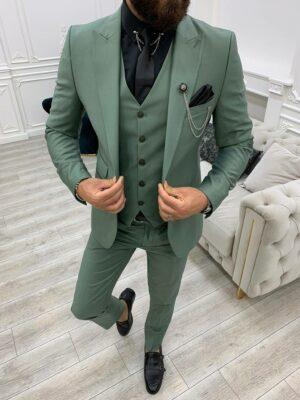 Light Green Slim Fit Peak Lapel Suit
