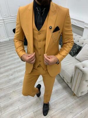 Mustard Slim Fit Peak Lapel Suit
