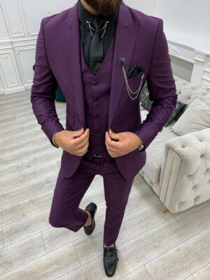 Purple Slim Fit Peak Lapel Suit