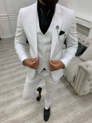 White Slim Fit Peak Lapel Suit