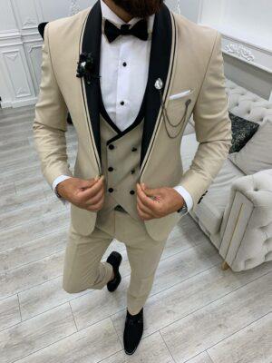 Beige Slim Fit Shawl Lapel Tuxedo