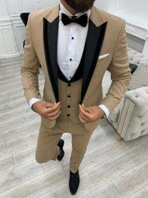 Gold Slim Fit Velvet Peak Lapel Tuxedo
