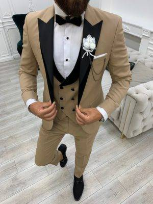Golden Slim Fit Velvet Peak Lapel Tuxedo