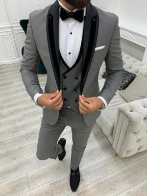 Gray Slim Fit Shawl Lapel Tuxedo