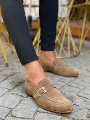 Aysoti Anlosdalm Beige Suede Buckle Loafers