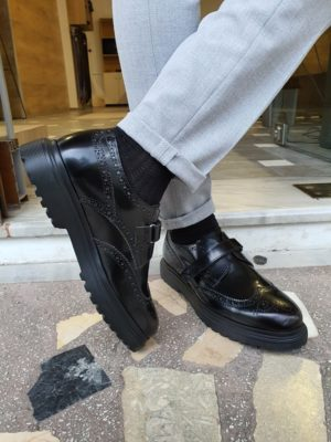 Black Wing Tip Buckle Loafers