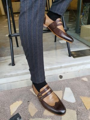 Brown Wing Tip Buckle Loafers