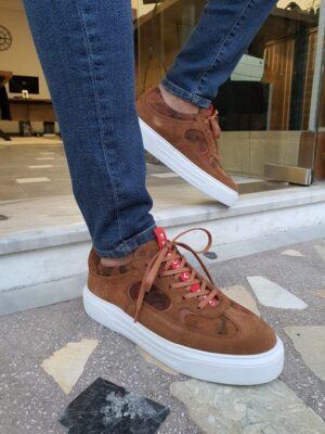 Aysoti Chenette Brown Suede Mid-Top Sneakers