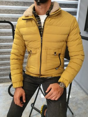 Yellow Slim Fit Quilted Coat