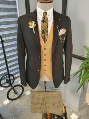 Black Beige Slim Fit Notch Lapel Linen Suit