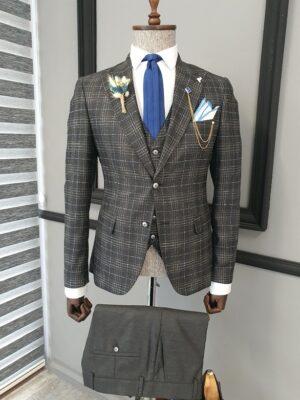 Black Slim Fit Notch Lapel Plaid Suit