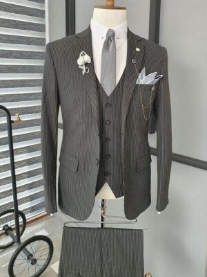 Black Slim Fit Notch Lapel Striped Suit