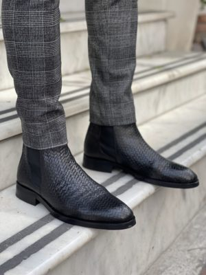 Aysoti Sohillsfort Black Woven Leather Chelsea Boots