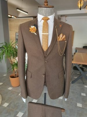 Aysoti Sohillsfort Brown Slim Fit Notch Lapel Wool Suit