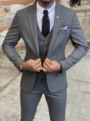 Dark Gray Slim Fit Notch Lapel Wool Suit