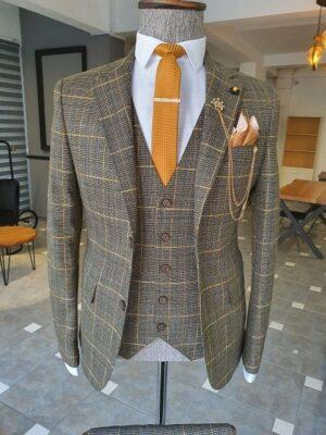 Khaki Slim Fit Notch Lapel Plaid Suit