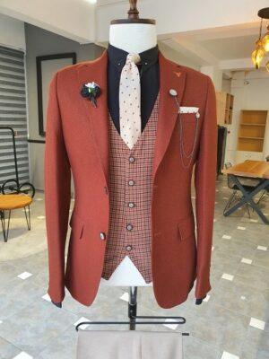 Tile Slim Fit Notch Lapel Linen Suit