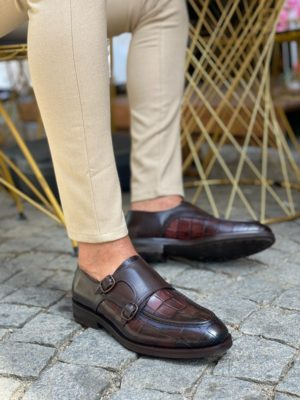 Aysoti Wolumb Brown Monk Strap Loafers