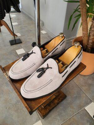 Aysoti Wolumb Gray Suede Tassel Loafers