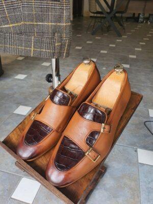 Aysoti Wolumb Tan Double Monk Strap Loafers