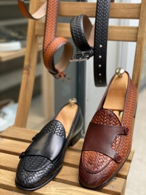 Aysoti Wolumb Woven Leather Monk Strap Loafers