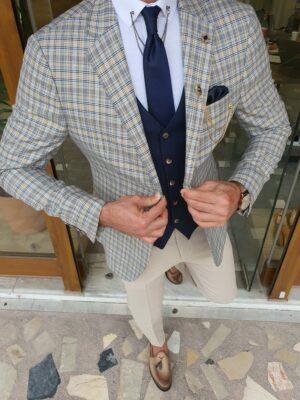 Boham Navy Blue Slim Fit Plaid Blazer