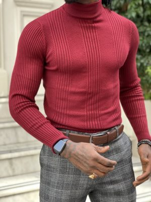 Red Slim Fit Turtleneck Sweater