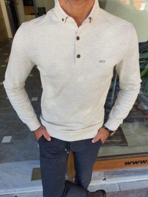 Beige Slim Fit Long Sleeve Polo Shirt