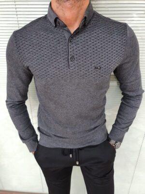 Dark Gray Slim Fit Long Sleeve Polo Shirt