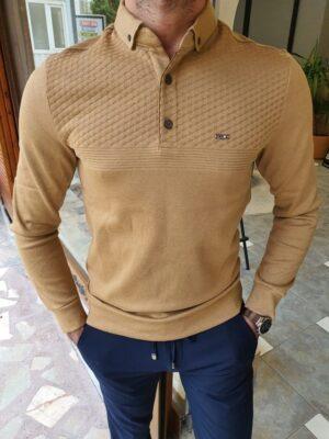 Mustard Slim Fit Long Sleeve Polo Shirt