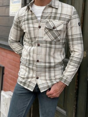Beige Slim Fit Long Sleeve Cotton Plaid Shirt