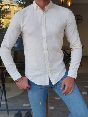 Beige Slim Fit Long Sleeve Cotton Shirt