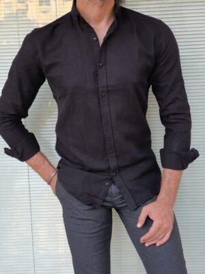 Black Slim Fit Long Sleeve Cotton Shirt
