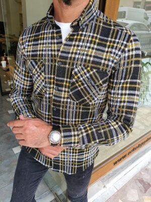Yellow Slim Fit Long Sleeve Cotton Plaid Shirt