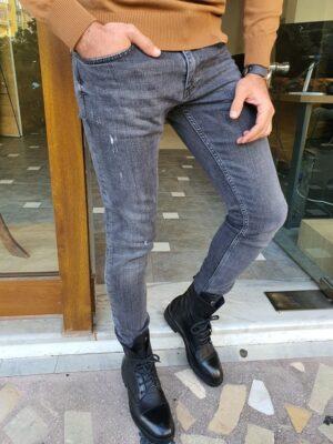 Franklin Black Slim Fit Ripped Jeans