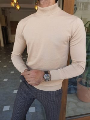 Beige Slim Fit Mock Turtleneck Sweater