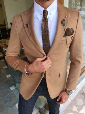 Hunwal Beige Slim Fit Wool Coat