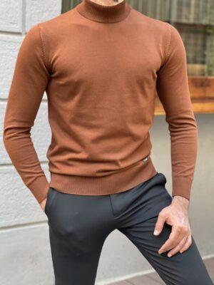 Brown Slim Fit Mock Turtleneck Sweater