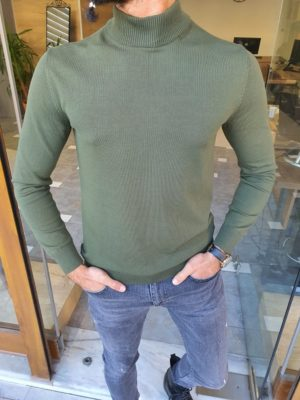 Green Slim Fit Mock Turtleneck Sweater