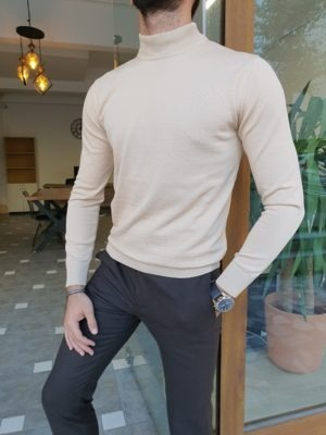 Light Beige Slim Fit Mock Turtleneck Sweater