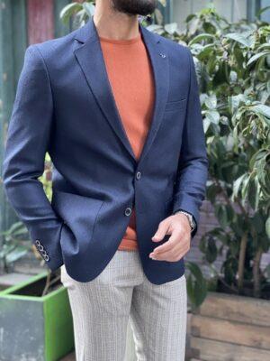 Hunwal Navy Blue Slim Fit Blazer