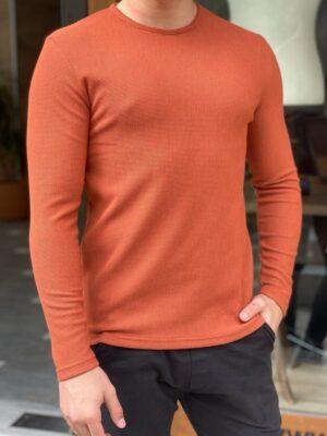Orange Slim Fit Round Neck Sweater