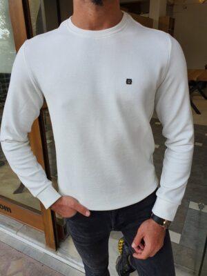 White Slim Fit Crew Neck Sweater